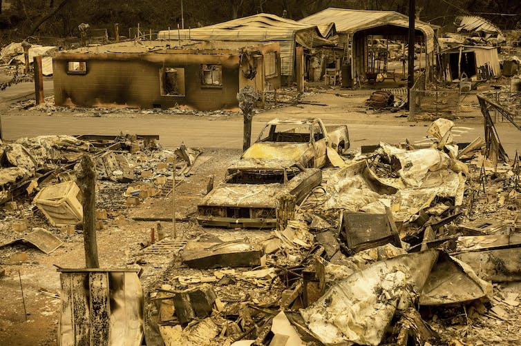 Scorched homes and vehicles in a mobile home park in California