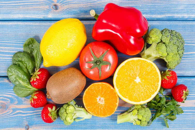 Fruits and vegetables containing vitamin C.