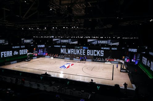 The arena in Orlando, where the Bucks were supposed to play the Orlando Magic, sits empty.
