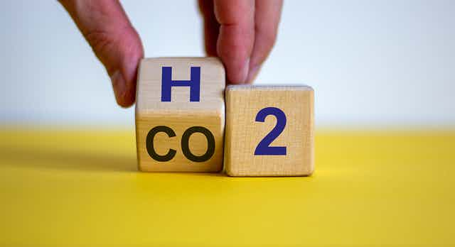 A pair of dice showing the chemical symbols for hydrogen and carbon dioxide