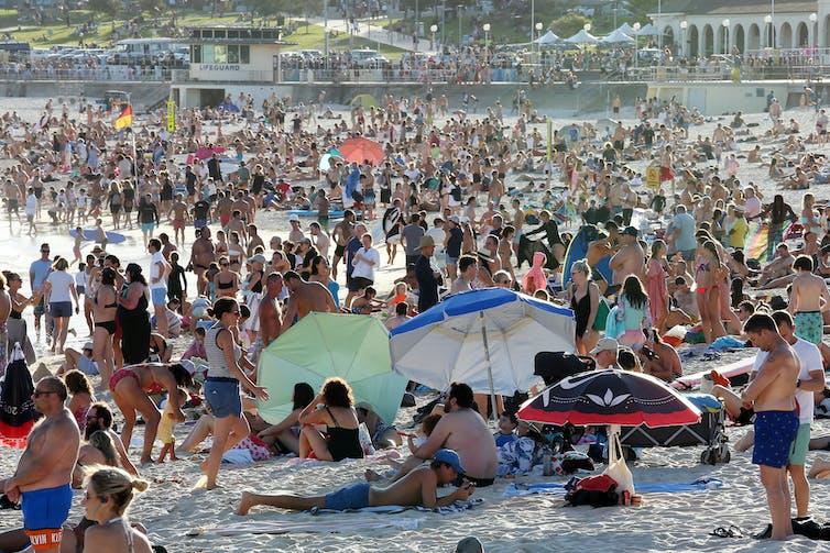 A packed beach