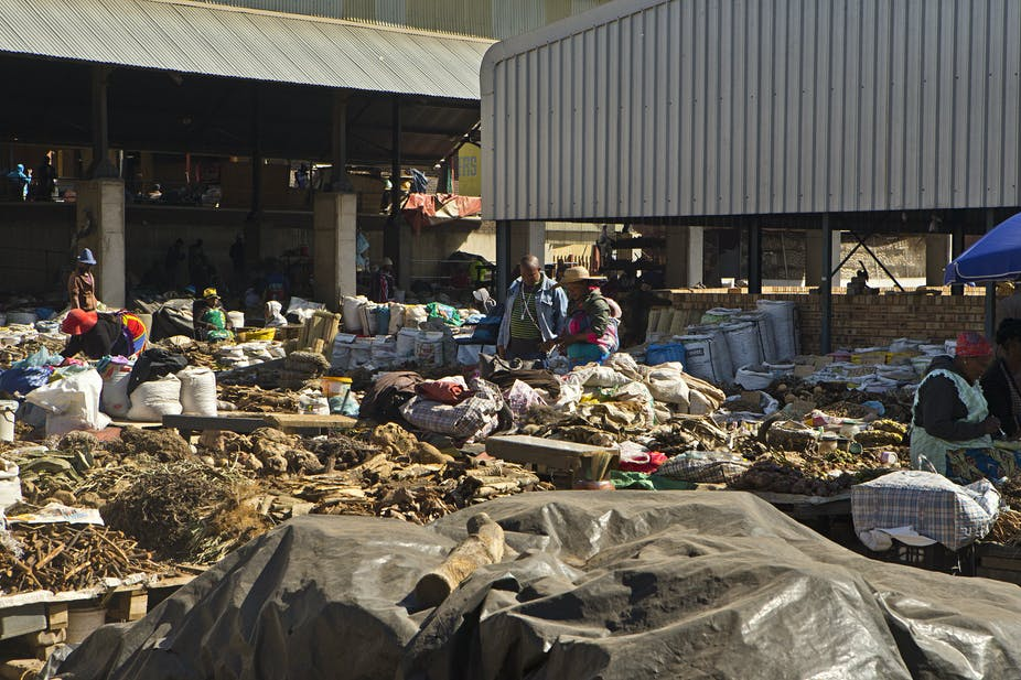 People shopping at an African traditional medicine market in downtown Johannesburg.