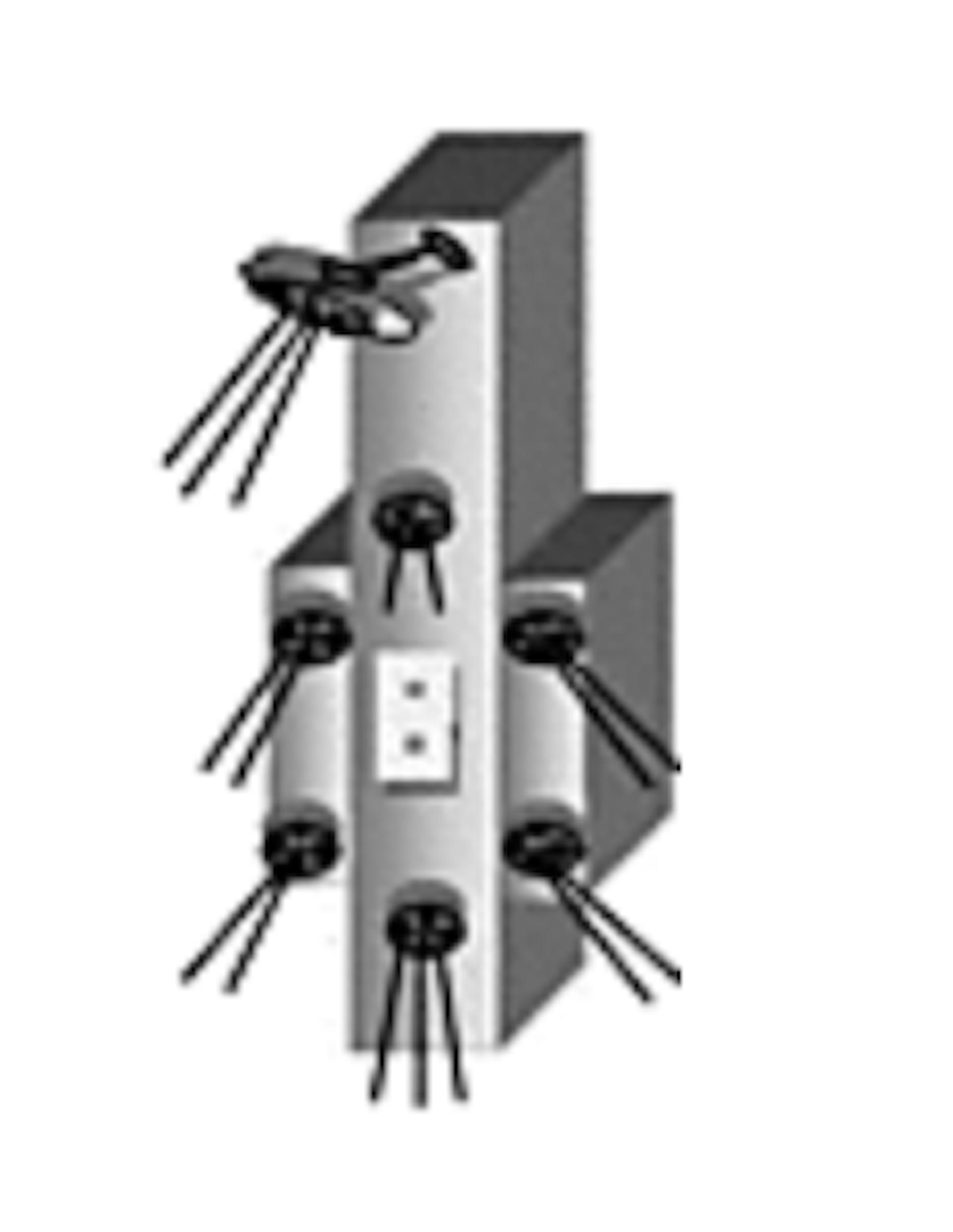Vertical column with seven nozzles.