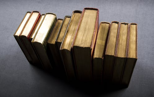 A row of books seen from above.