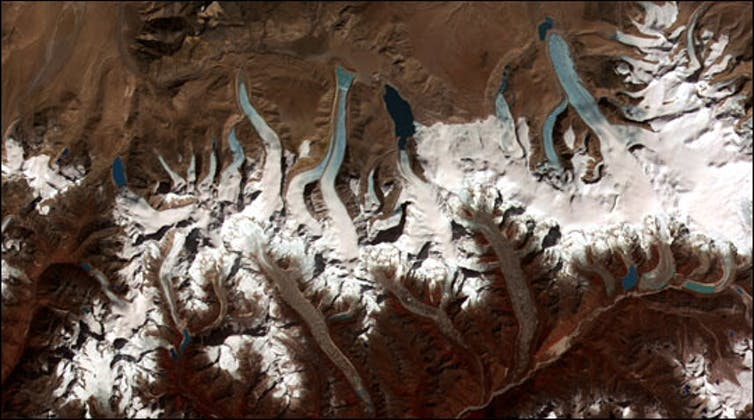 A satellite image of lakes formed by melting glaciers in Bhutan