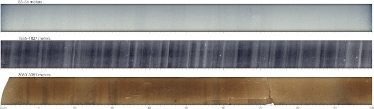 Three ice cores recovered from different depths.
