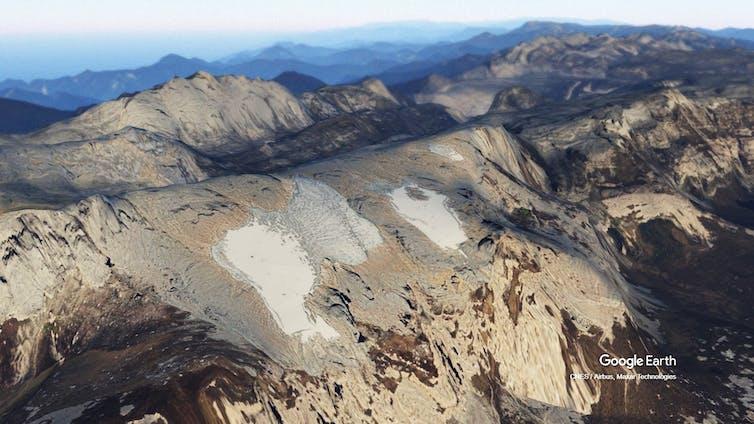 A 3d render of the Puncak Jaya glacier in Indonesia