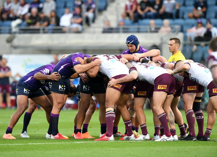 A scrum during an NRL match between the Melbourne Storm and Manly Sea Eagles