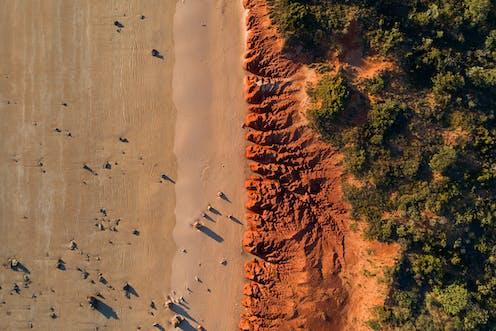 Aerial view of a Pilbara beach