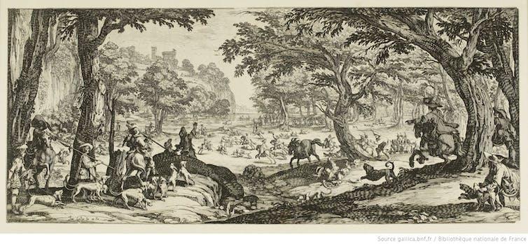 Estampe représentant la chasse au XVIIe