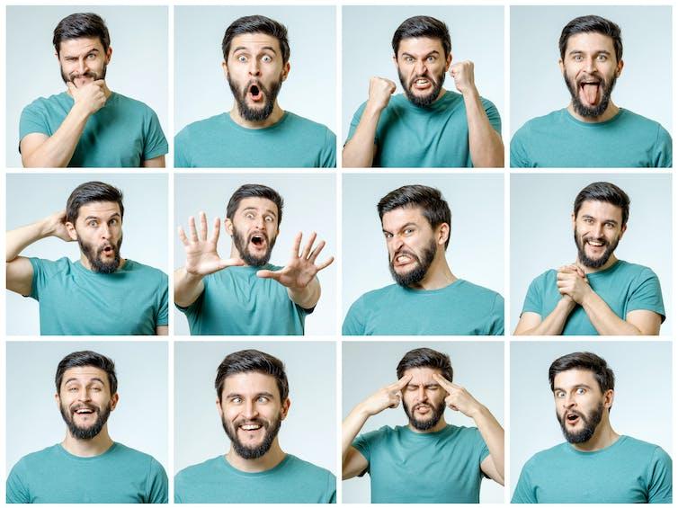 Series de fotos de caras de un hombre mostrando diferentes emociones.