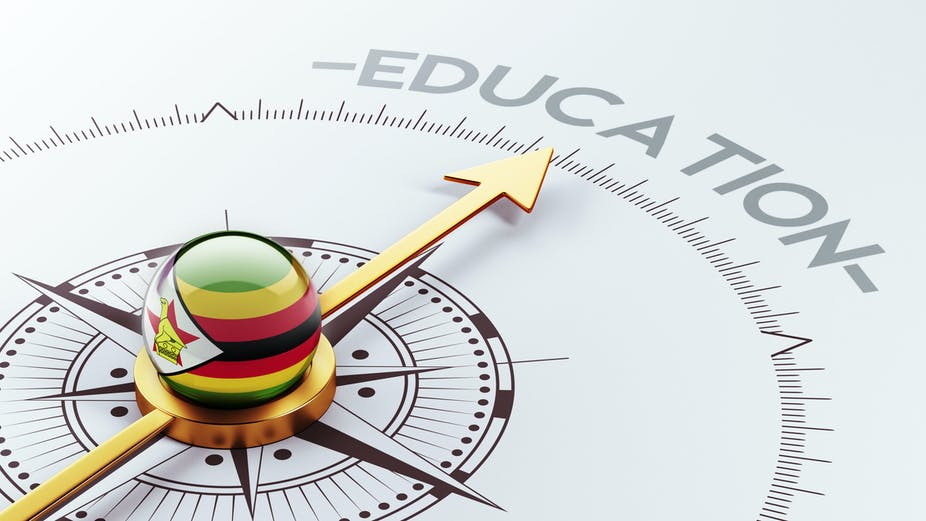 An illustration of a compass with a Zimbabwean flag pointing at the word education.g