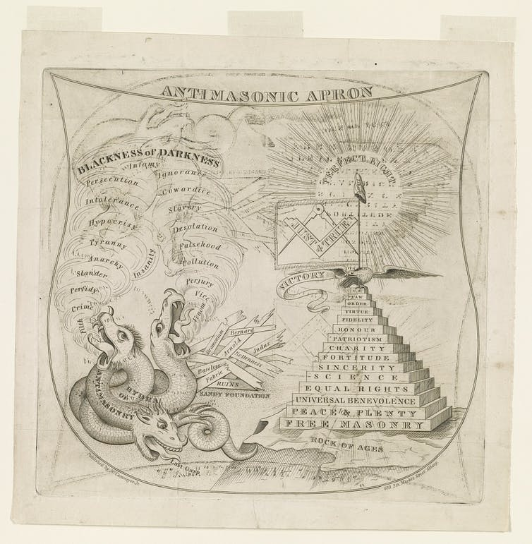 A drawing depicts the Anti-Masons as a hydra, while the Freemasons are portrayed as a pyramid of virtue.