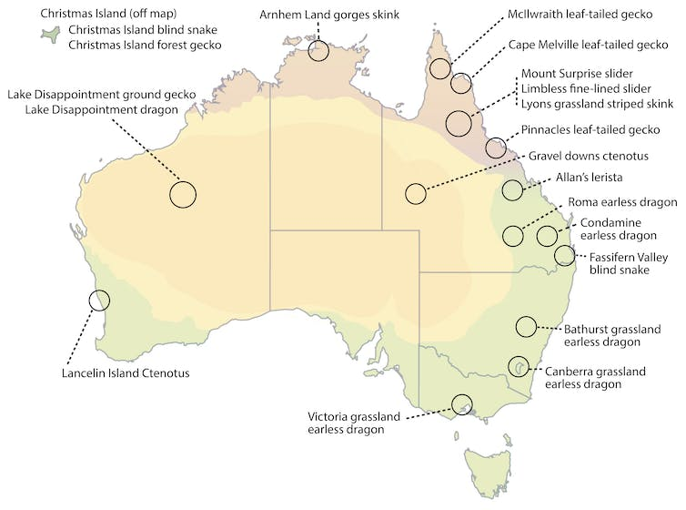 A map of Australia showing where the 20 snakes and lizards are located