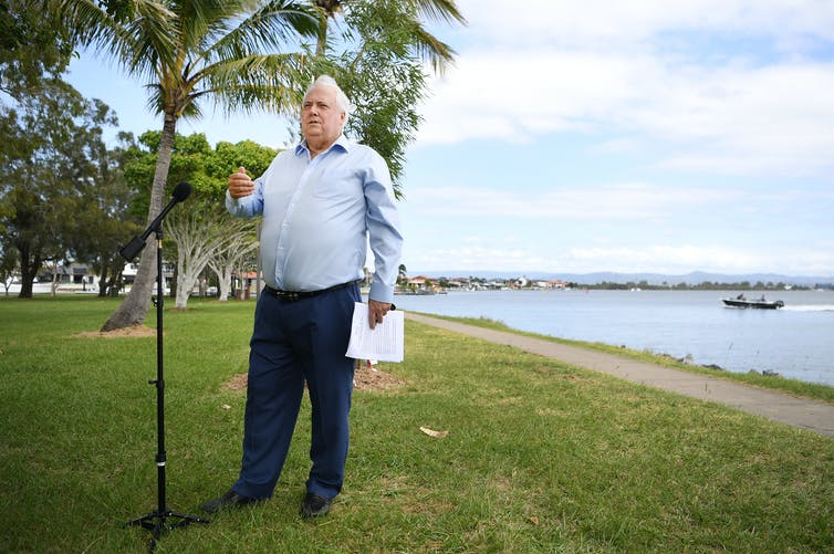 Clive Palmer at a press conference on the Gold Coast.