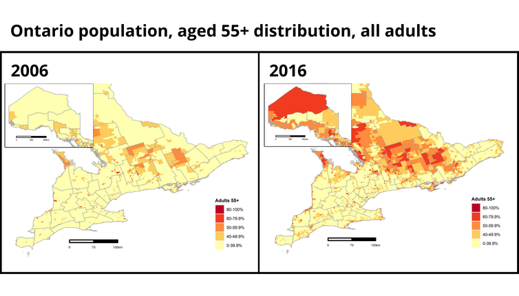 Side-by-side maps showing significantly higher population of adults ages 55 years and older in 2016 compared to 2006