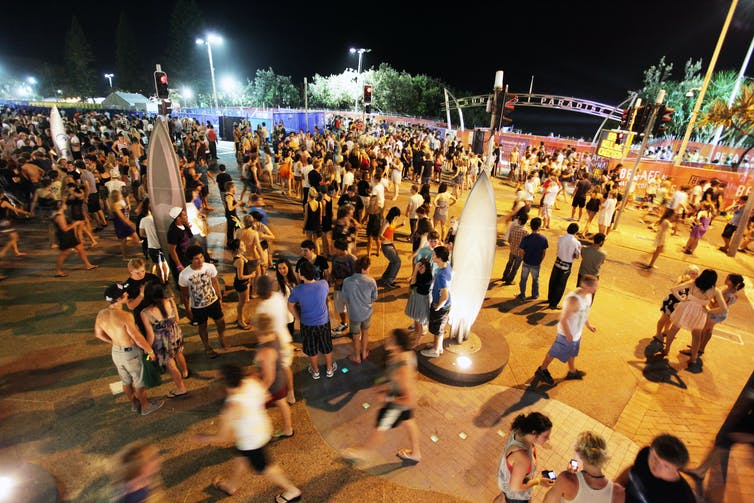 A crowded Cavil Mall on the Gold Coast during schoolies.