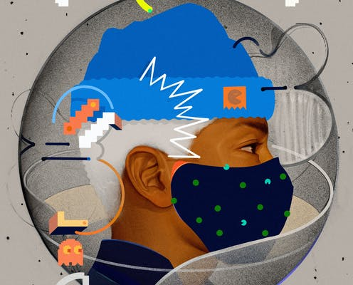 An illustration of a young man wearing a face mask.