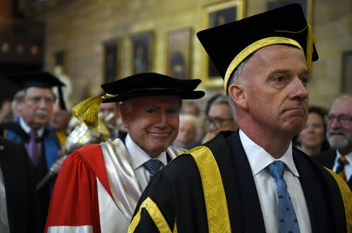 ormer prime minister John Howardwith Vice Chancellor Michael Spence arrives at a ceremony to be presented with an honorary doctorate at the University of Sydney