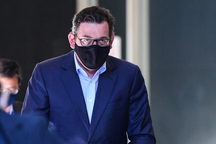 Victorian Premier Daniel Andrews wearing a mask