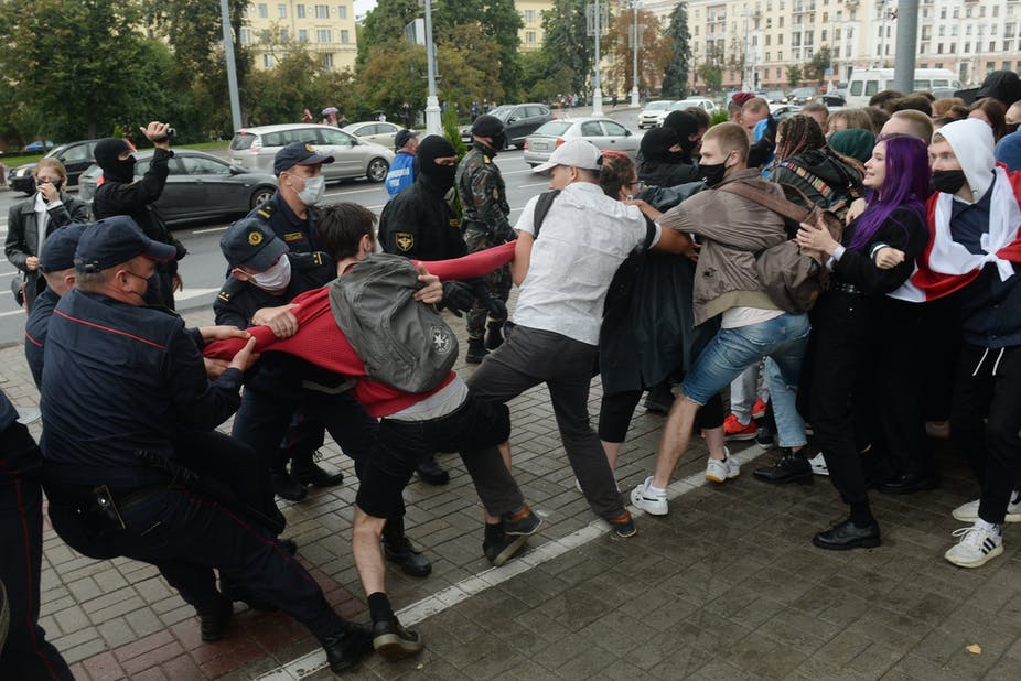 Young Belarusians being arrested by police in Minsk