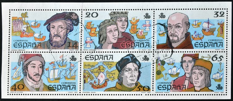 Set of Spanish stamps featuring explorers and monarchs involved in settlement of the Americas.