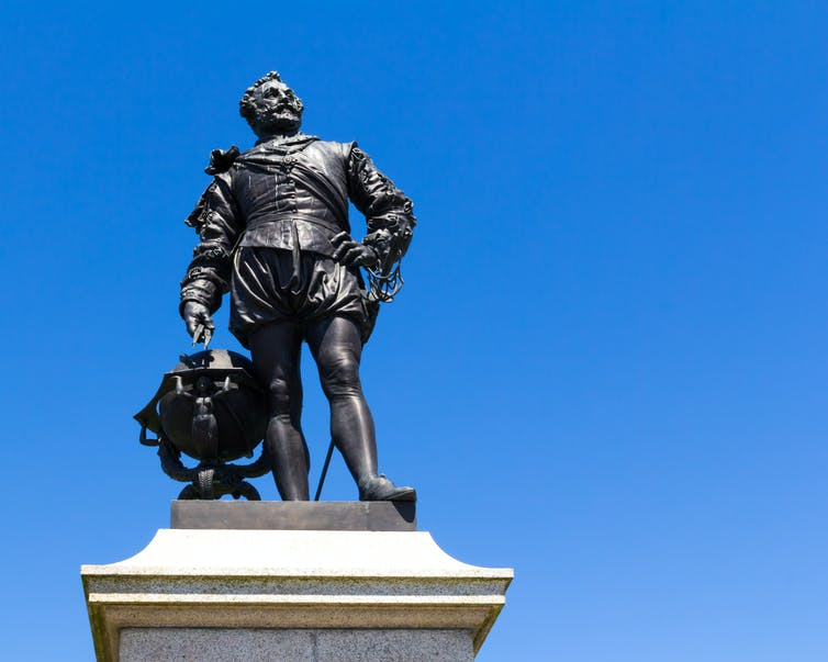 Statue of Francis Drake in armour at Plymouth Hoe in south-west England.
