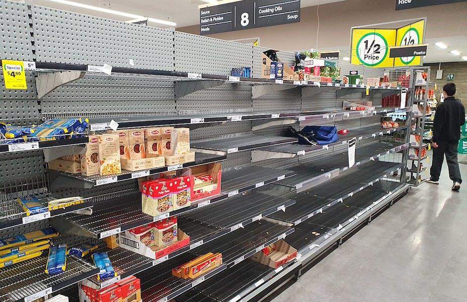 Empty supermarket shelves.