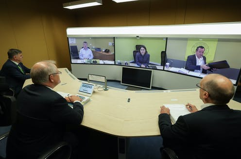 Scott Morrison discussing with premiers virtually during national cabinet