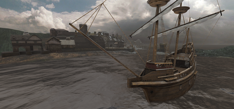 VR image of two 17th-century sailing ships in harbour.