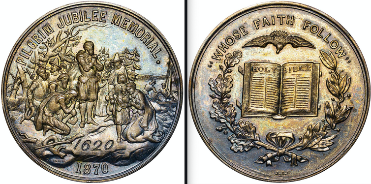 The front of the coin, which features praying Pilgrims reads, 'Pilgrim Jubilee Memorial,' while the back reads, 'Whose faith follow' above the Bible.