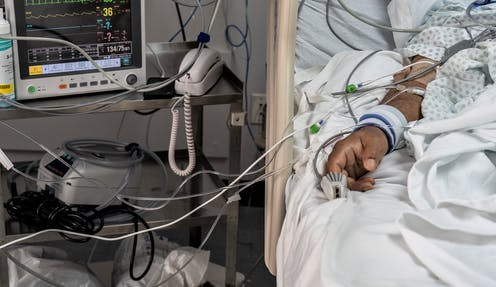 A COVID-19 patient in a Houston hospital in June 2020.