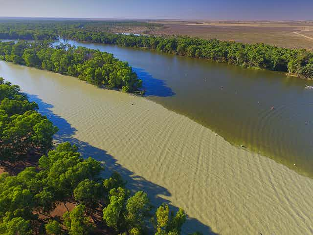 Aerial view of a river in the Murray Darling Basin.