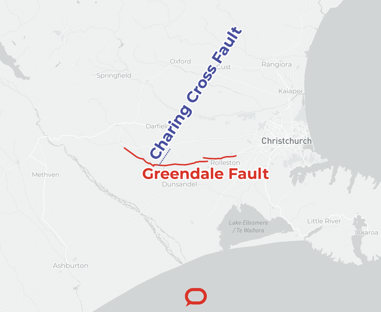 Map showing the intersection of the Greendale Fault and the Charing Cross Fault