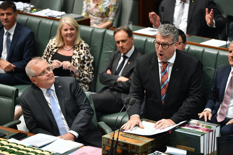 Keith Pitt speaks in Parliament as Prime Minister Scott Morrison watches on