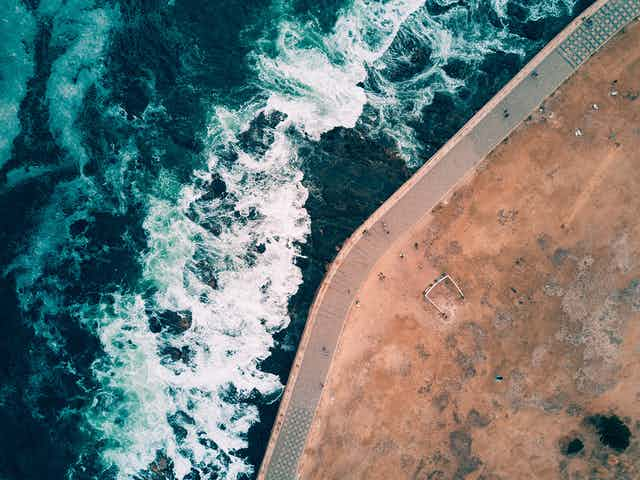 Aerial view of coastline.