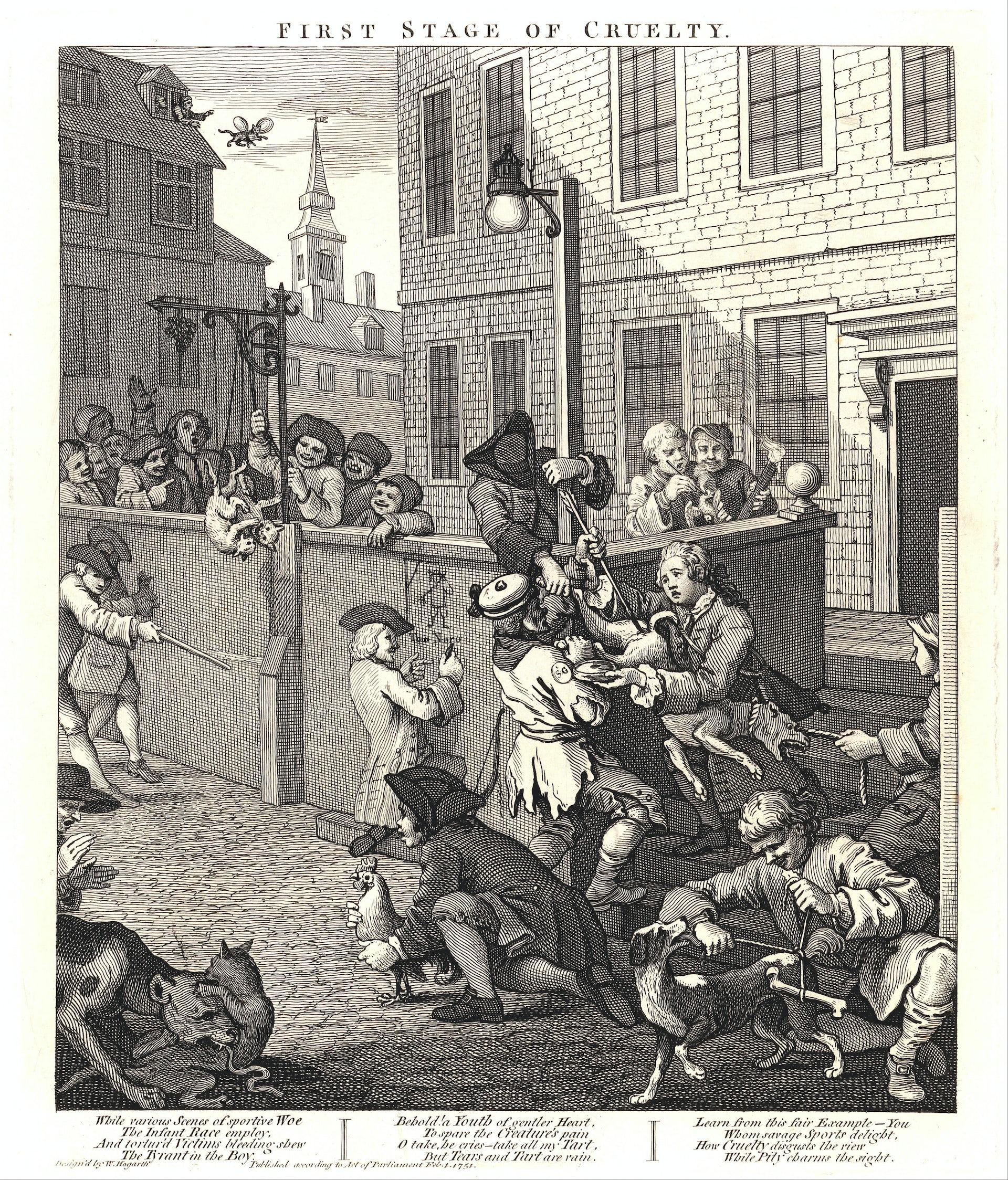 Dans la première gravure, on aperçoit le jeune Tom Nero participant à la torture d'un chien. William Hogart