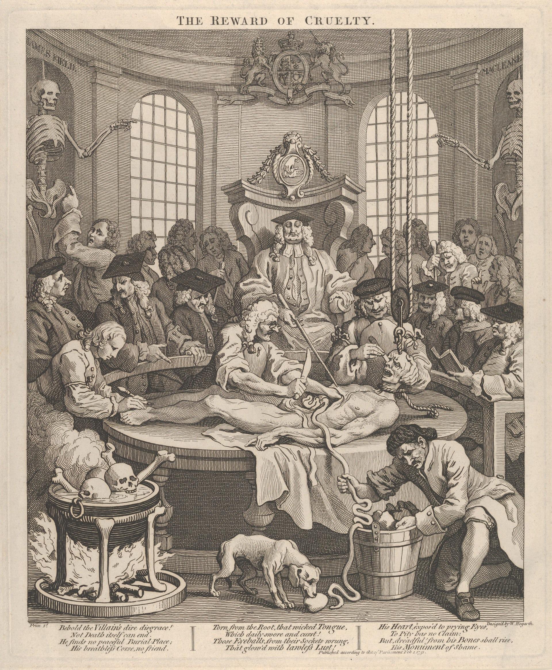 La trajectoire de ce Néron des bas-fonds s'achève sur une table de dissection, après son exécution. William Hogart