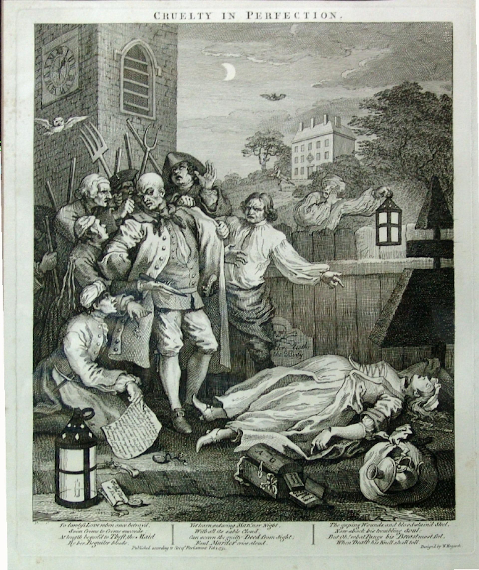 La troisième image montre son arrestation, après qu'il a commis un meurtre abject, celui d'une jeune femme enceinte. William Hogart