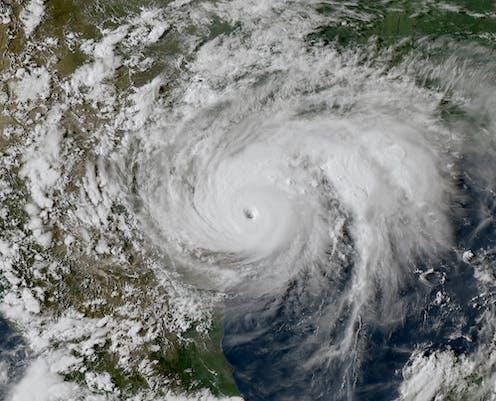 A satellite image of Hurricane Harvey making landfall in Texas