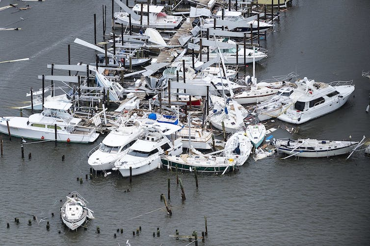 Dozens of boats scattered and sunk in a marina in the aftermath of Hurricane Harvey.