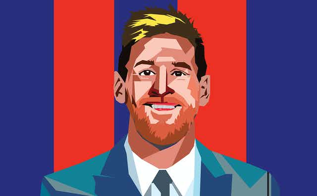 retrato de Leo Messi estilo pop art