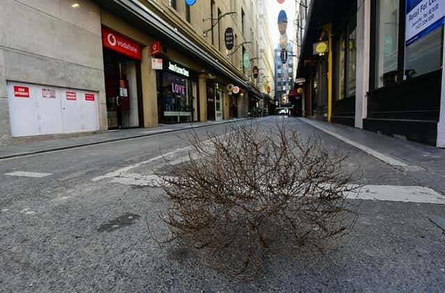 An empty Melbourne street on August 28 2020.