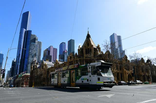 Melbourne skyline featuring a tram in the foreground