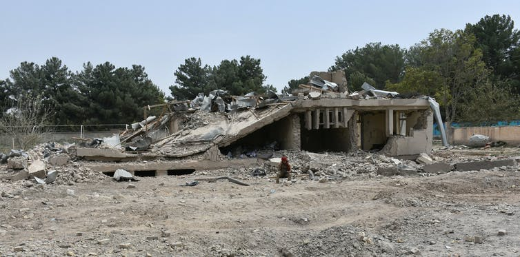 Building destroyed by suicide bomb in Afghanistan.