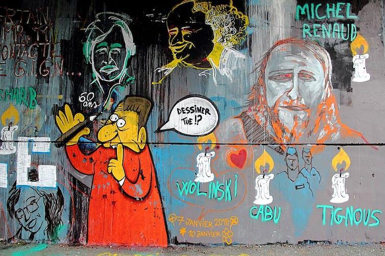 Graff en hommage aux victimes de l'attentat perpétré contre Charlie Hebdo