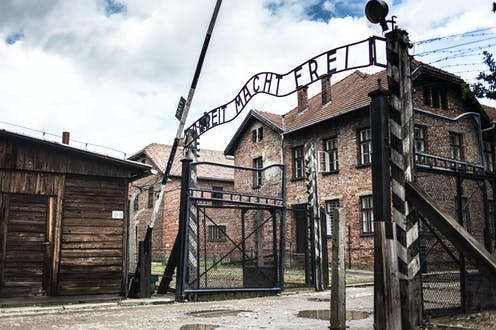 Entrance arch to Auschwitz Museum