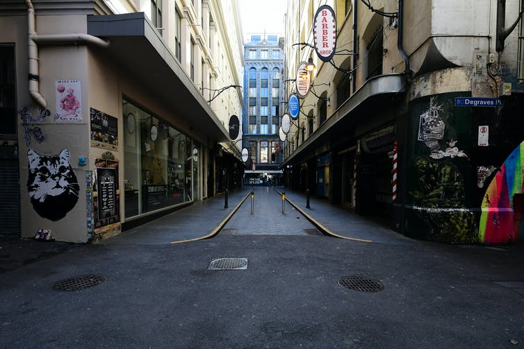 No people and no tables on the normally full Degraves St.