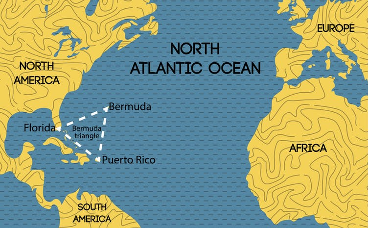 Map of the North Atlantic Ocean showing the approximate boundaries of the Bermuda Triangle.