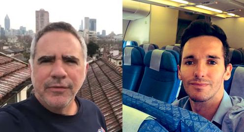 Left: Michael Smith on Shanghai rooftops, Right: the ABC's Bill Birtles on an empty Cathay Pacific flight.